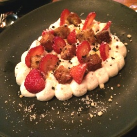 Strawberries, toasted macadamia cake, elderflower cream