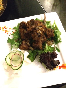 Flash Fried Lamb in Sichuan Oil served with Yam Bean