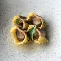 Mushroom Agnolotti with parsnip dashi from Lumi Bar and Dining, Sydney