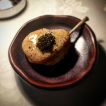 Chicken wing with konbu butter and caviar