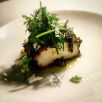 Black lip abalone, sauce meuniere, herb salad, puffed rice