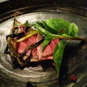 Wagyu beef with tamarind, choko vine and Ceylon spinach