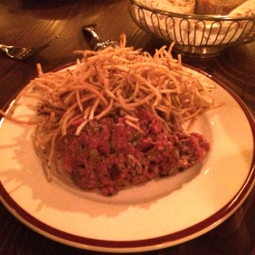 Prime beef tartare – wagyu topside, classic condiments, French fries