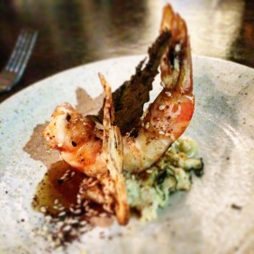 BBQ tiger prawns, rainforest honey, dried grapes and walnut toast