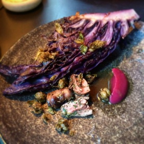Duck hearts, red cabbage, capers, za'atar