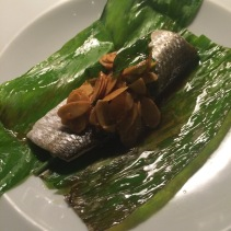 Coorong yellow eye mullet cooked in turmeric leaf and sauce amandine