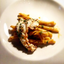 Grilled Moreton Bay But with strozzapreti pasta and crustacean butter
