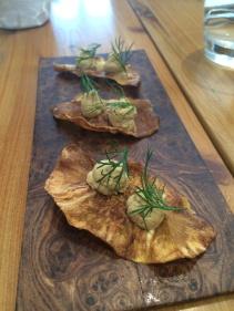Celeriac crisp with mussel mousse