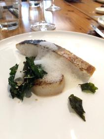 Crispy skin Spanish mackerel, with daikon, sesame and Tuscan cabbage