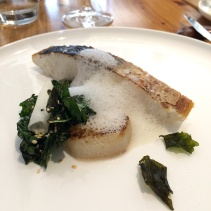 Crispy skin Spanish mackerel, with daikon, sesame and Tuscan cabbage