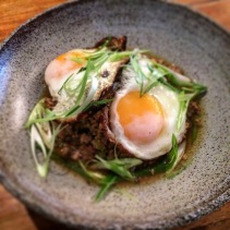 Green chilli and pork mince with young shallots and fried eggs