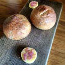 Bread rolls with butter and shiraz salt