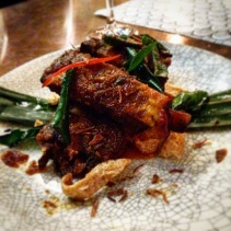 The Spicy lamb ribs - twice cooked master stock spicy rib, dry chilli and kaffir sambal