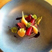 Beetroot, malt, curd, pumpernickel