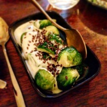 Brussels sprouts with toasted linseed and blue cheese sauce