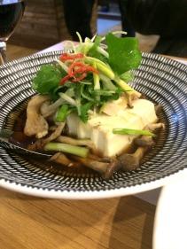 Steamed silken tofu with mushroom, ginger & soy