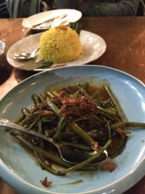 Kangkong with sambal and a serve of yellow rice