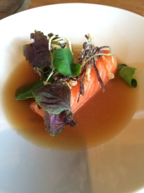 Ocean trout, mushrooms, seaweed
