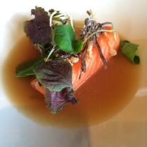 Ocean trout, mushrooms, seaweed
