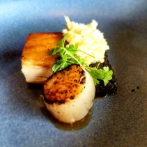 Pork, scallops, cauliflower