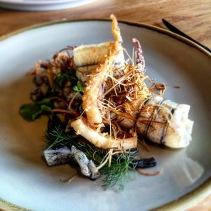 Garfish, squid, salted plum, baby leeks