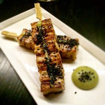 Kurobuta pork belly skewers with apple, wasabi and black salt