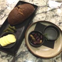 Caraway Seed Ciabatta, cornichons and olives