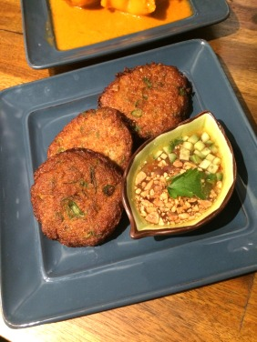 Fish cakes with cucumber and peanut sweet chilli sauce