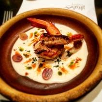 SA Gulf prawns with white gazpacho, muscatel grapes, jamon and paprika salt