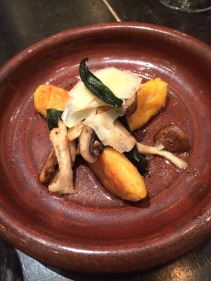 Vegetarian option: Pumpkin and chick pea gnocchi with mushrooms, roasted garlic and sage butter