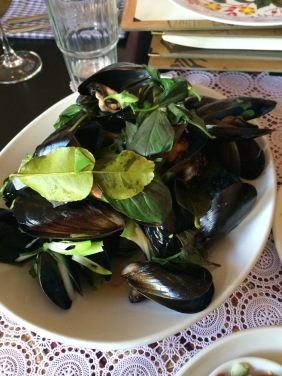 Steamed Mussels, Ginger, Lemongrass, Coriander and Kaffir Lime