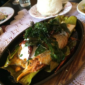 Banana Leaf Barramundi Fillets, Red Curry, Young Coconut and Basil