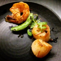 Sea scallops and king prawns with sugar snap peas, Sancho peppercorn and sudachi prawn butter (deconstructed)