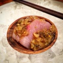 Kingfish, bread and butter pine mushroom