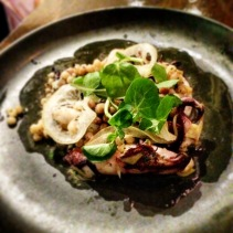 Grilled calamari with globe artichoke and fregola
