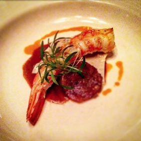 Roasted Gulf king prawn with bbq corn in Jiao Zi pastry, prawn essence and cotechino sausage