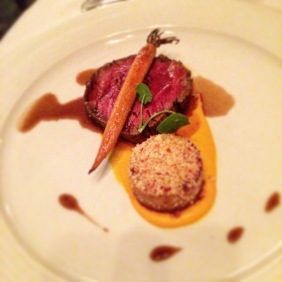 Aged Yearling beef tenderloin char grilled, duck fat potato, smoked carrot and brioche crumble