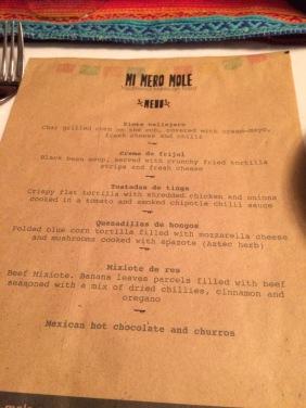 Everyone gets a printed menu