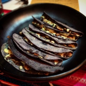 Quesadillas de hongos - blue corn tortilla with cheese and mushrooms