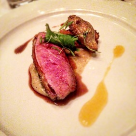 Crisp skin smoked duck breast with roasted Jerusalem artichoke and preserved cumquats