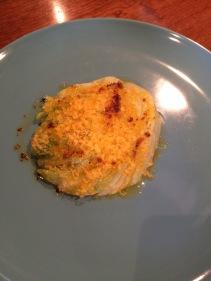Tuna with chicken liver, egg yolk, iceberg and sunflower