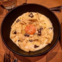 White truffle and morcilla carbonara, hand cut papardelle