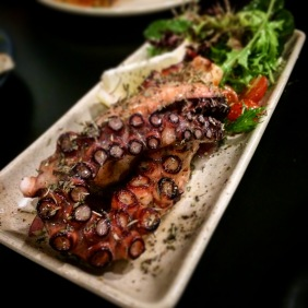 Chargrilled local octopus with pickled onion and lado-lemono dressing