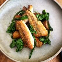 Flathead with Jerusalem artichoke and kale