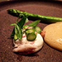 Jonella Farm asparagus, smoked eel