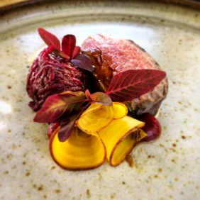 Organic Robe beef with heirloom beetroot and rhubarb