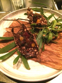 Smoked wallaby and black rice