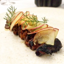 Ox tongue smoked over binchotan, apple ginger, wild sesame soy