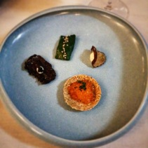 Snacks - Ikura pearls, sea urchin chard, wagyu and caviar, daikon with mascarpone