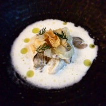 Blue crab, grape, cockles and macadamia milk